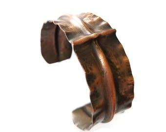 Copper Cuff / Folded Copper Cuff / Copper Bracelet / Wide Unique Copper Bracelet / Cross Bracelet  / Hammered Copper Cuff