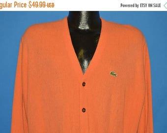 ON SALE 70s Izod Lacoste Orange Cardigan Sweater Large