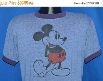 ON SALE 80s Mickey Mouse Disney Threadbare Ringer t-shirt Large