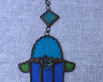 HANDMADE Mini HAMSA  Blue and Light Blue  Colors with Beads-Filigree. Ethnic Tiffany Stained Glass,Wall Hanging,Original Art Decor
