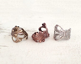 Custom Size Victorian Filigree Ring in Antiqued Silver, Copper, or Brass - Choose Your Color Asymmetrical Finger Ring