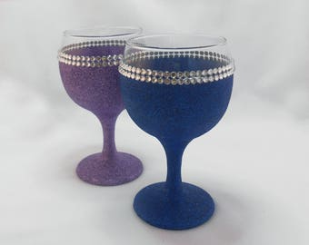SALE - Wine Glass Candle - Soy Wax - Double Diamante BLUE