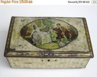 ON SALE Antique Tin Box - Jewelry Box