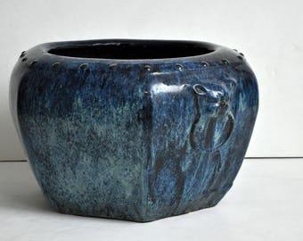 Large Yixing Blue Glaze Planter/Brazier