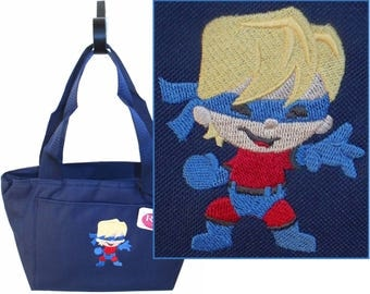 Superhero Boy Insulated Lunch Pail Cooler Cartoon Monogram Custom Embroidered