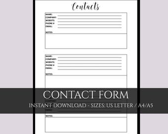 Contact page, contact printable, A4 planner pages, contact list, Filofax contacts, A5 contact list, contacts and numbers, planner contacts,