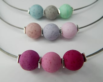 3 in 1 removable necklace Choker silver with different wearing options Berry Exchange jewelry chain 46 cm necklace pink grey mint