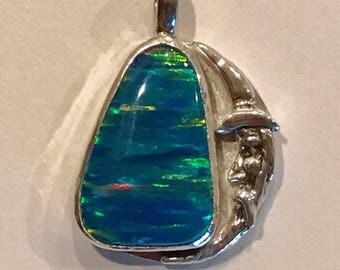 Sterling Silver, Opal, Wizard Pendant