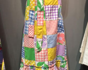 Vintage Patchwork Cotton Maxi Skirt