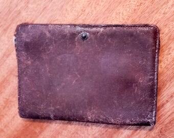 Very old men brown leather wallet