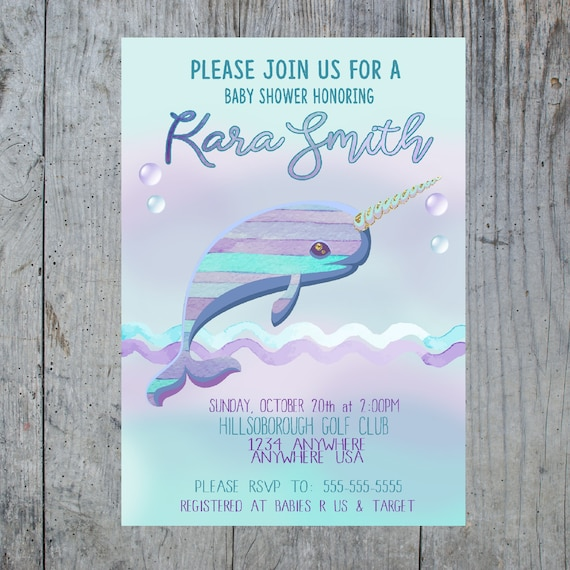 Baby shower narwhal invitation narwhal invite narwhal birthday il570xn filmwisefo