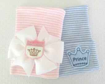Newborn Princess or Prince Hospital Hat- baby girl princess bow- baby boy prince hat