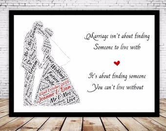 Personalised Word Art Gift Framed Bride and Groom Wedding Anniversary Gift, Keepsake Husband Wife, Mr and Mrs