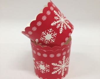 Paper Bakeware Snowflakes Holiday Red White Paper Baking Cups cupcakes recyclable Christmas baked goods 10 ct