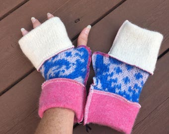 Soft Pink, White + Blue N White Felted Wool Fingerless Mittens