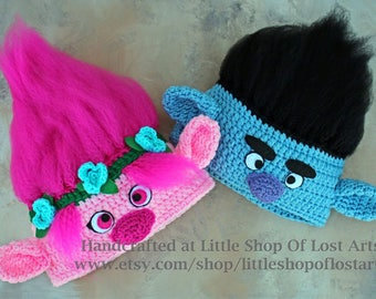 Trolls inspired- poppy or branch crochet hat made to order any size!