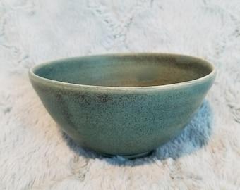 Handmade pottery green bowl. Japanese style green ramen bowl. Ceramic green bowl.
