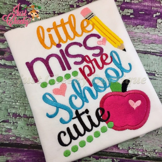 Little Miss Grade Embroidered Girls Shirt - First Day of Preschool  - Back to School -Kindergarten -1st 2nd 3rd 4th 5th 6th Grade
