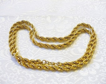 Vintage Monet Signed Gold Rope Chain Necklace - gold tone metal - chunky substantial - vintage gift - 24 inch necklace - signed designer