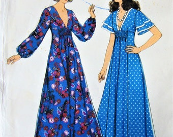 """Uncut Style Dress Pattern no 4791 Size 16 Bust 97cm 38"""" Vintage 1970s Sewing Bell Sleeves Long Dress"""