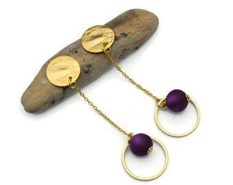Chain earrings, Clip on earrings, Modern chain Earrings, Purple Earrings, Gold earrings, Statement Earrings, Hoop earrings, Gift for her