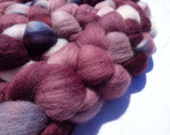 Hand Dyed Wool Roving (Top) - Purple Polwarth - 100g