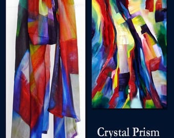 Crystal Prism Colorful Painting - Custom Designed Fashion Modal Scarf  by Artist Kerry Milligan
