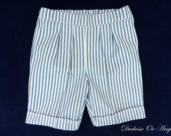 Bermuda blue and cream striped cotton baby - 2 years