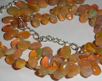 "108 Cts 16"" Ethiopian Fire Opal multi Tumble With roundel Beads Necklace"