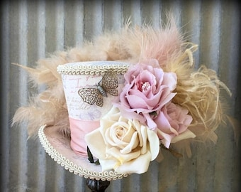 ON SALE Mini Top Hat, Butterfly Flower Mini Top Hat, Mad Hatter Hat, Steampunk Mini Top hat, Tea Party Hat, Fascinator, Blush and Beige hat