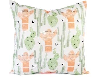 Two Peach Pillows - Green Throw Pillow - 16 x 16 Inch 18 x 18 Decorative Pillow - Pink Pillow Cover - Grey Pillow - Cactus Print Pillow