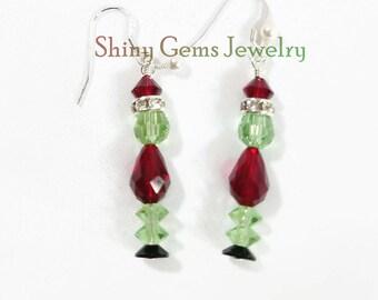 Grinch Earrings, Merry Christmas, Swarovski Crystal Earrings, Holiday Jewelry, Grinch, Red, Green Earrings, Christmas Drop Earrings