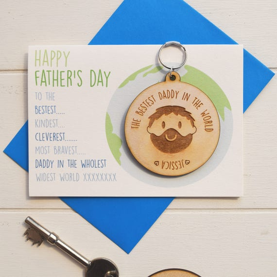 Bestest Daddy card - Father's Day card - Daddy Keyring