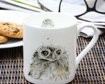Owl Mug - Fine Bone China, Bird Lovers Gift, Country Kitchen, Christmas Gift, Gift for Him, New Home Gift