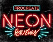 Set of 9 Neon Procreate Brushes - Neon brushes - For the iPad app Procreate - Digital brushes - Digital art resources