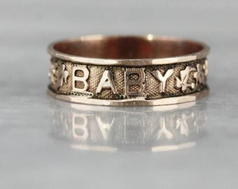 """Antique """"BABY"""" Ivy Band, Victorian Baptism Band, Rose Gold Cigar Band FF4F8F-D"""