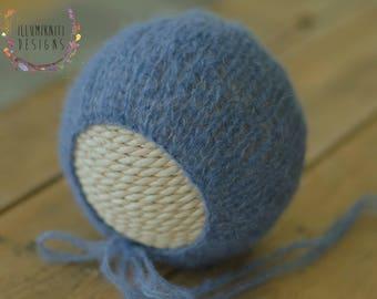 Newborn Denim Blue Bonnet - Blue Brushed Alpaca Knit Bonnet - Denim Blue Knit Bonnet - Blue Knit Newborn Bonnet - Ready to Ship