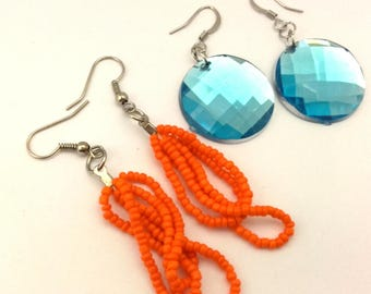 Vintage Handmade Women Long Earrings Charming  Style Silver Brass & Facet Lucite Blue / Orange Seed Beads