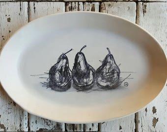 HAND SKETCHED Pear Platter
