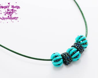 Teal Crescent  Beaded Necklace, Beaded Necklace, Beaded Bead Jewellery, Beaded leather necklace, Leaf Toggle Clasp, Statement necklace