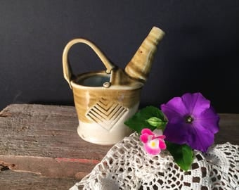 Handcrafted Miniature Wood-fired Porcelain Pottery Garden Watering Can