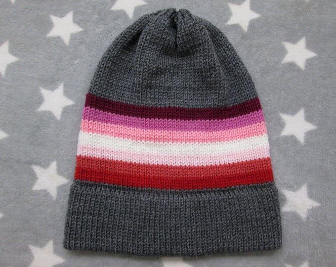 Knit Pride Hat - Lesbian Pride - Grey - Slouchy Beanie - Acrylic