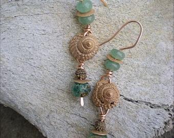 Bronze Clay Seashell Amulet Earrings