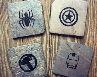 Marvel Comic Superhero Coasters - Set of 4