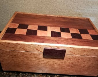 Oak Jewelry  Box with Checked Top, Oak, Wenge, Walnut, Two Removeable Divided Trays, Jewelry, Wooden Box