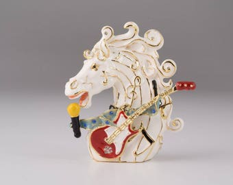 White Horse with a Guitar Faberge Styled Trinket Box Handmade Decorated with Swarovski Crystals