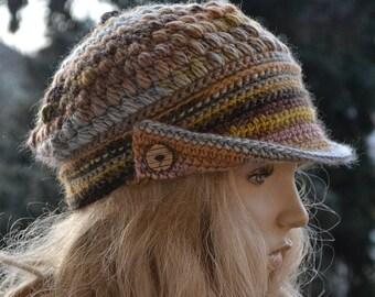 Womens Crochet Hat, Women Hat, Newsboy Hat, Spring newsboy cap, Brown Newsboy Hat, Womens Accessories, Chocolate , yellow, orange, gray