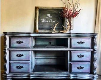 Rustic Meadia Comsole ~ Repurposed Dresser ~ Painted Furniture