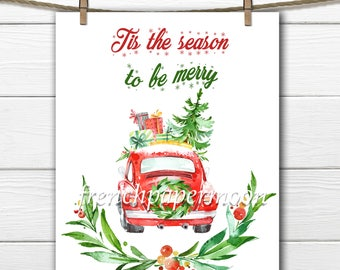 Digital Red Christmas Beetle , Christmas Car with Tree, Christmas Presents, Christmas Iron on, Laurel Wreath, Large Image Transfer