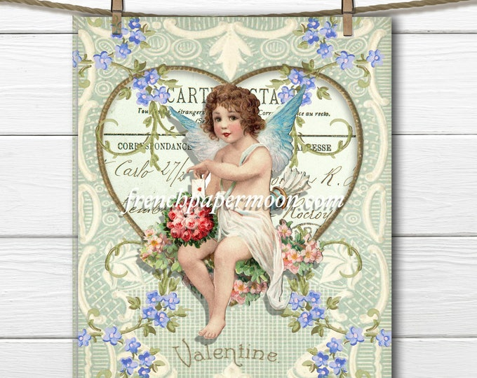 Shabby Valentine Cupid Large Image Instant Download Vintage Transfer Fabric digital sheet printable